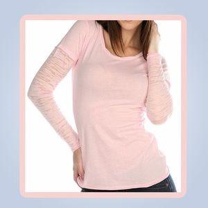 NWOT - Burnout Layered Tee- Pink/Sheer Sleeves -L